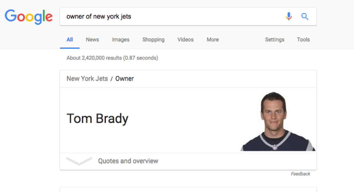 Google Search Result For Jets Owner Shows Tom Brady
