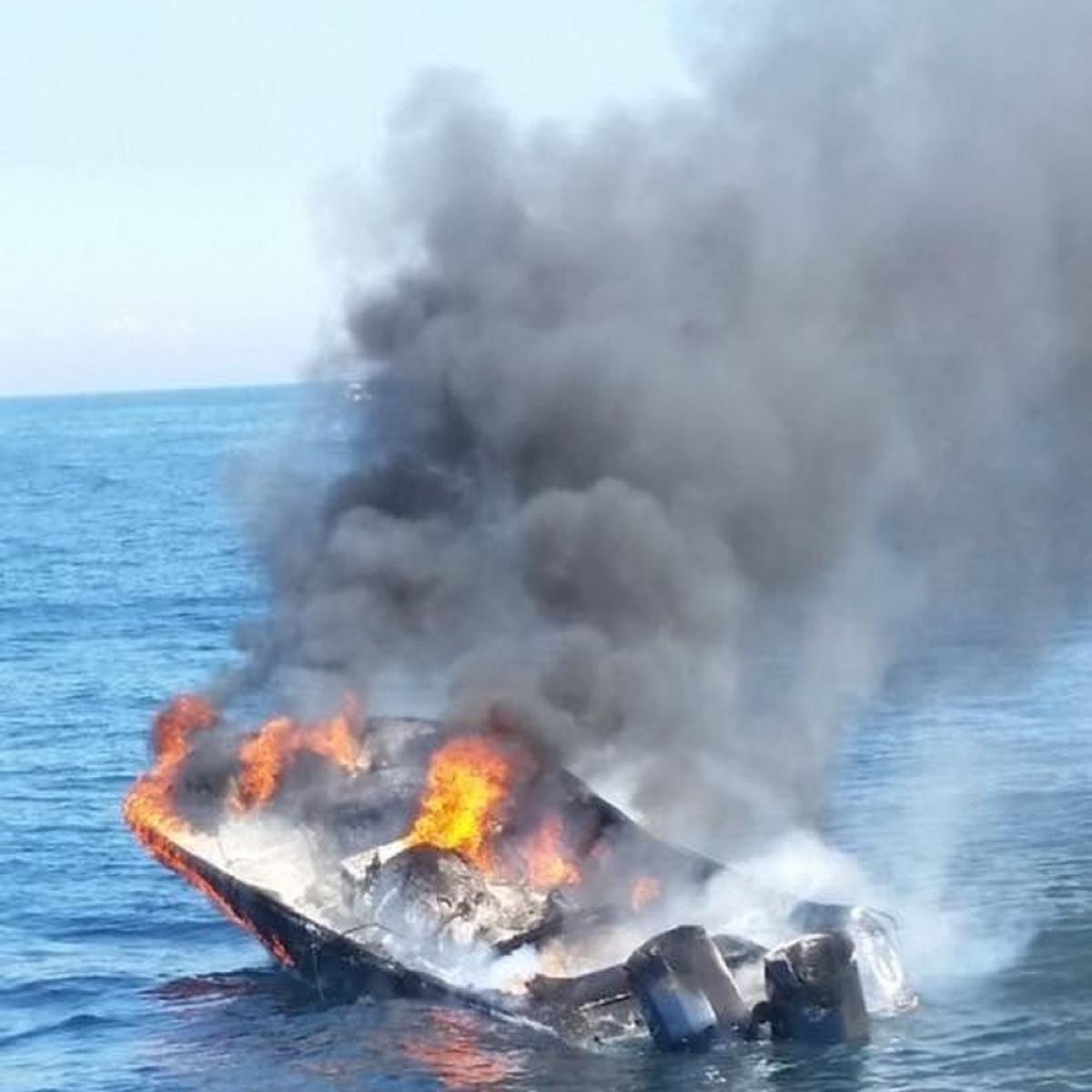 boat on fire near Martha's Vineyard