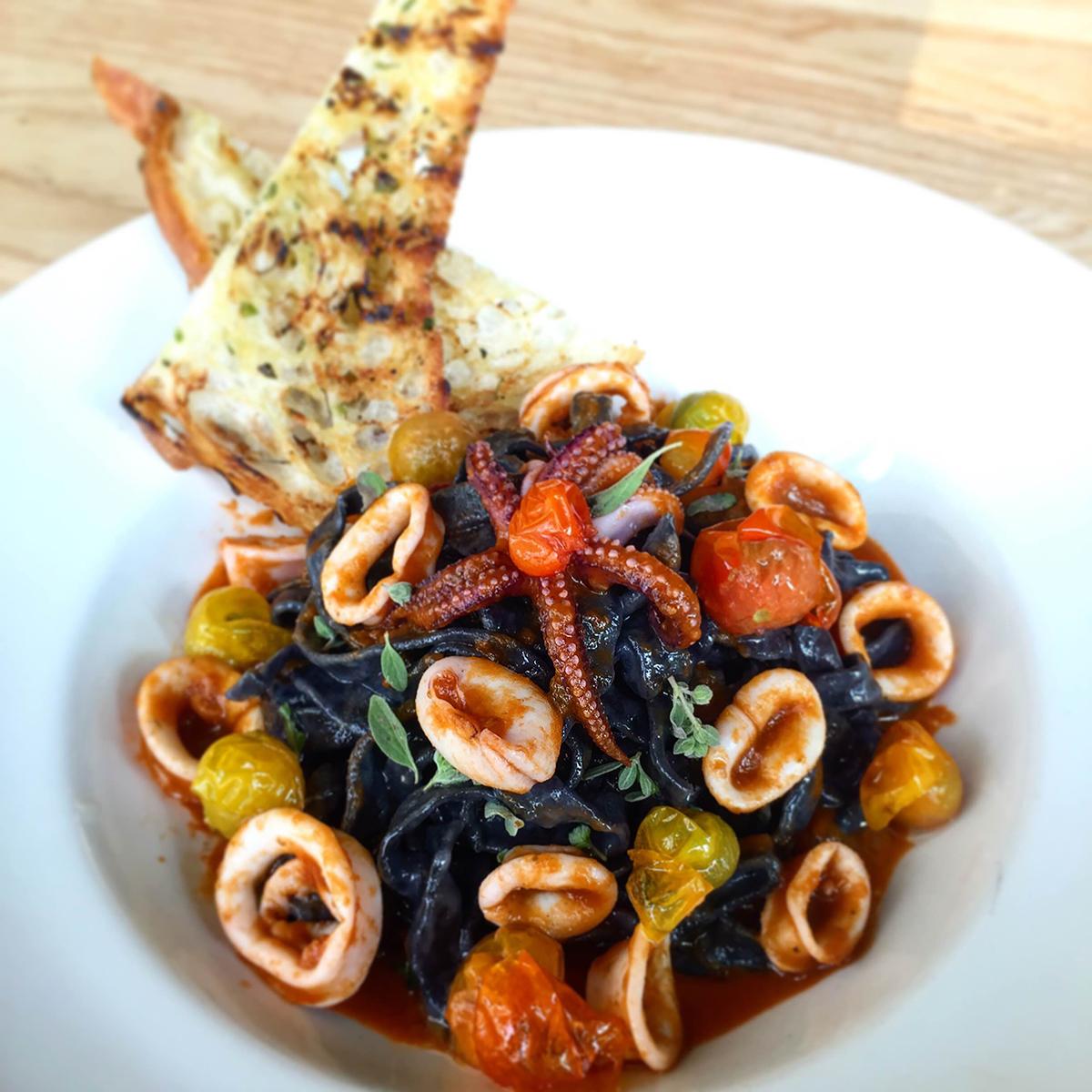 Squid Ink and Calamari pasta at Tender Greens