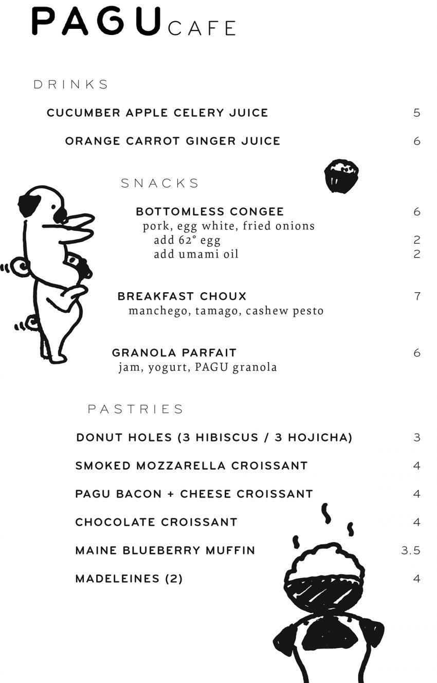 Pagu weekday breakfast menu