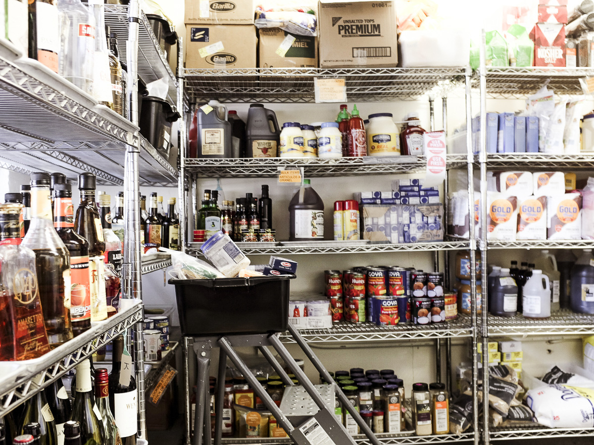 """Stored ingredients in the """"control room"""" at ATK in Brookline Village"""