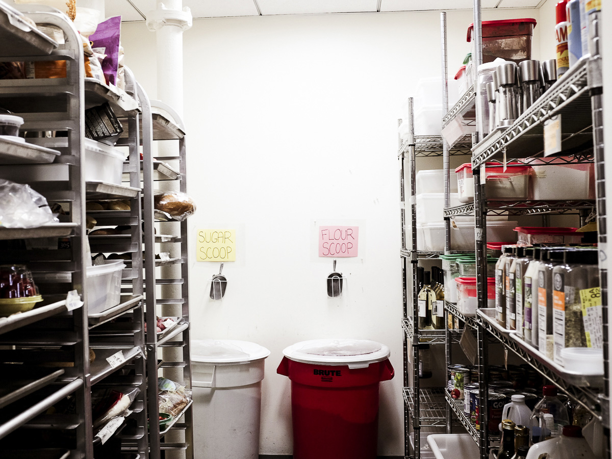 The main dry storage pantry at ATK in Brookline Village