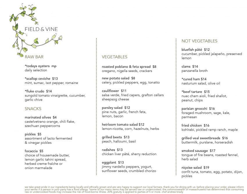 Field & Vine sample dinner menu