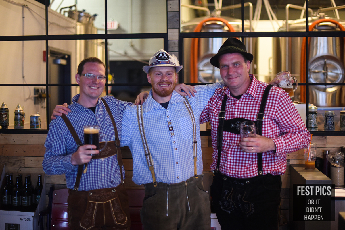 Chris Harlow, head brewer Brett Bauer, and Mark Hickernell at Idle Hands Oktoberfest party in 2016