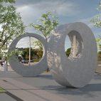 """A rendering of """"Plaza (Arcade)"""" by Alexandre da Cunha"""