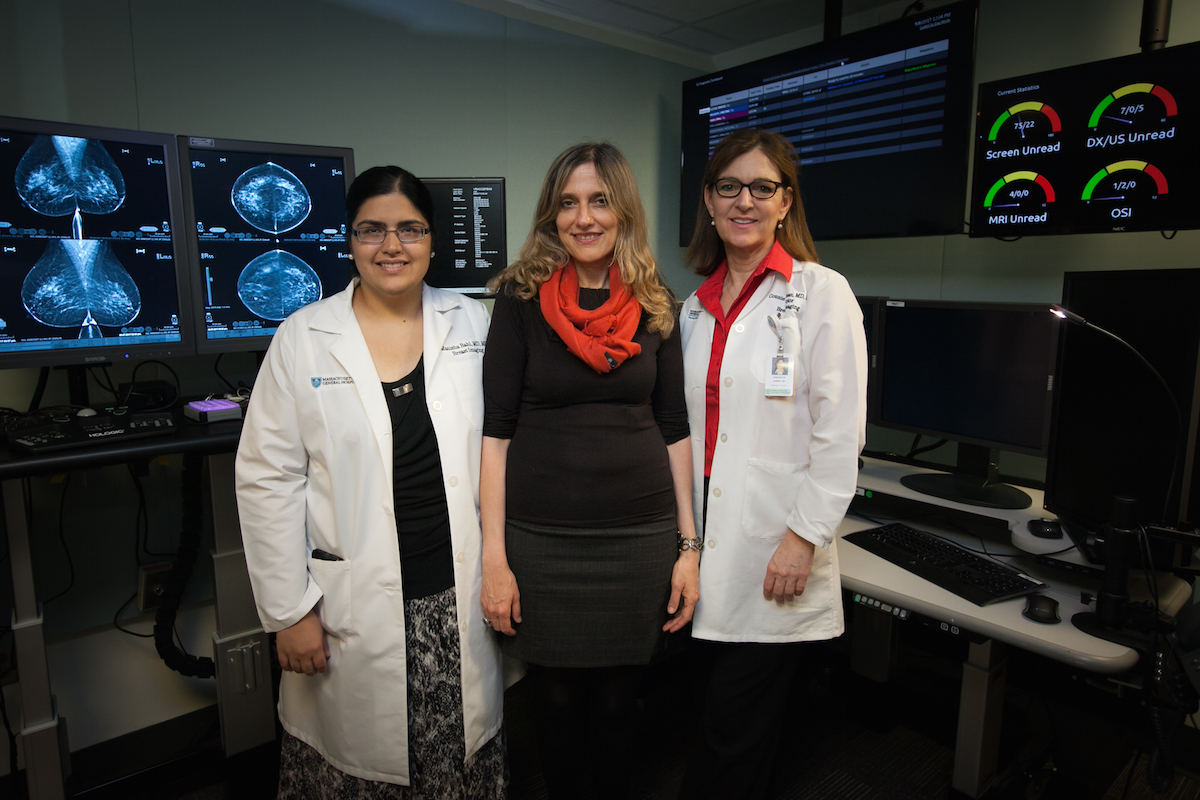 MIT professor Regina Barzilay (center) with Mass General collaborators Manisha Bahl and Constance Lehman / Photo provided
