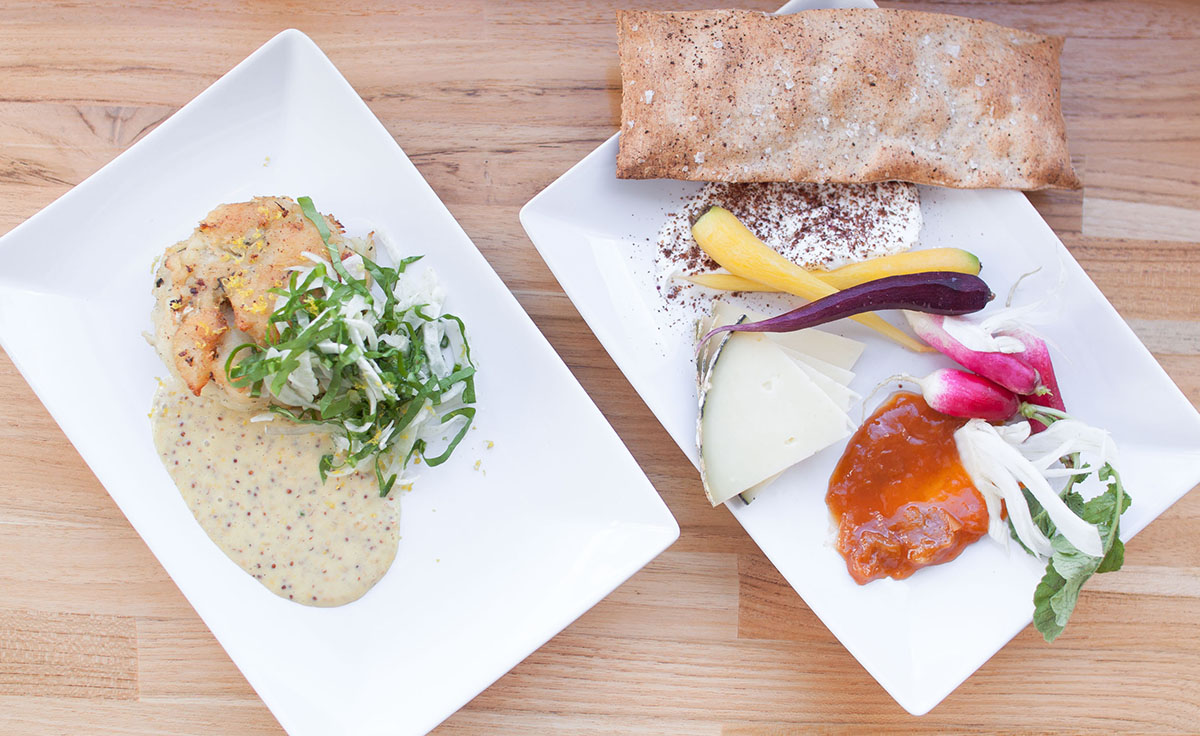 Salt cod & potato fish cakes, and cheese and crudite plate at NOCA Provisions