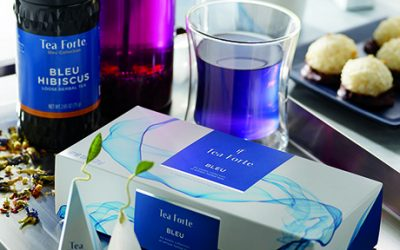 Tea Forte's new bleu collection will be for sale at its forthcoming Boston shop
