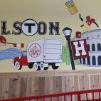 A Harvard-centric mural at Trader Joe's Allston