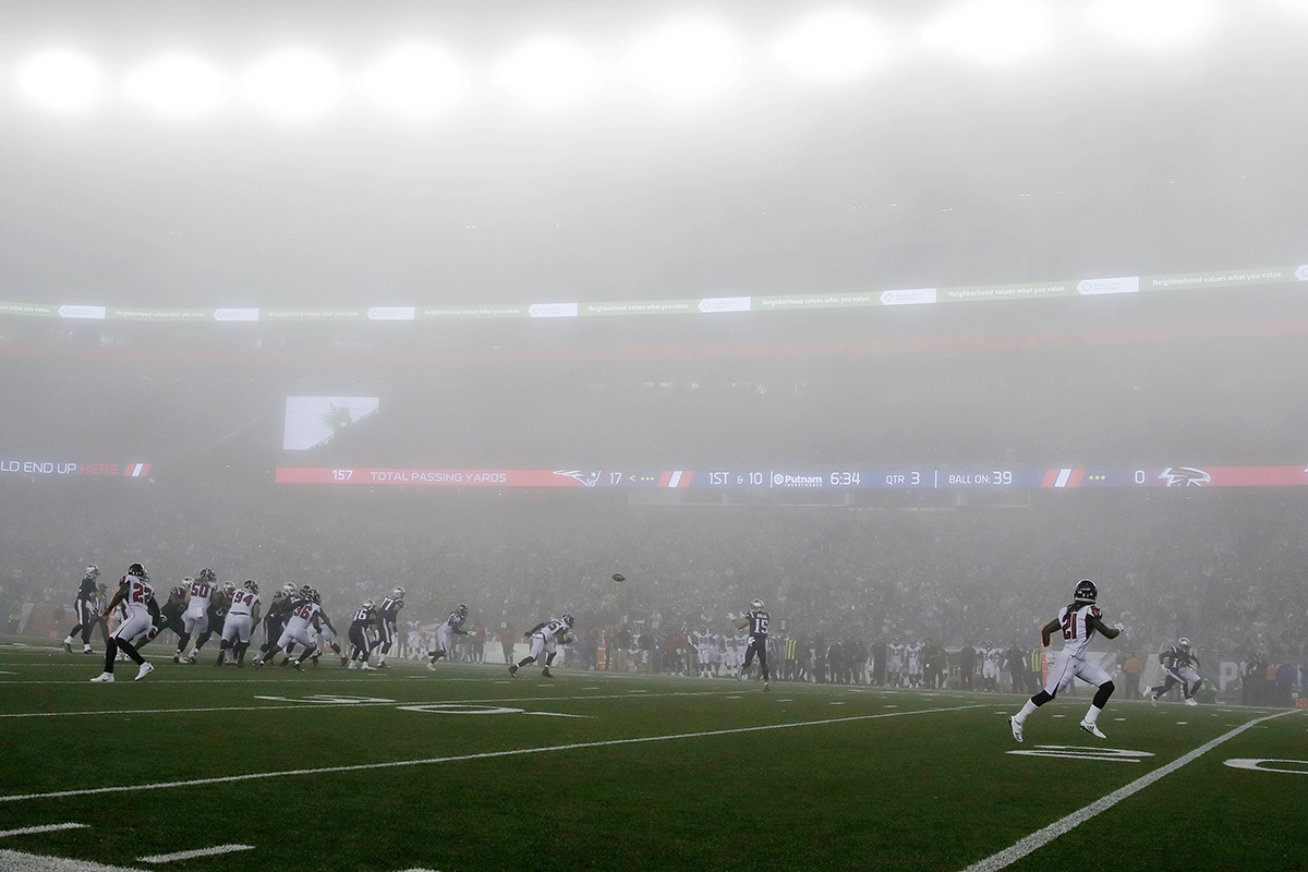 Fog descends on the Patriots and Falcons at Gillette Stadium.