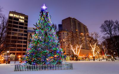 A Christmas tree lit up on Boston Common