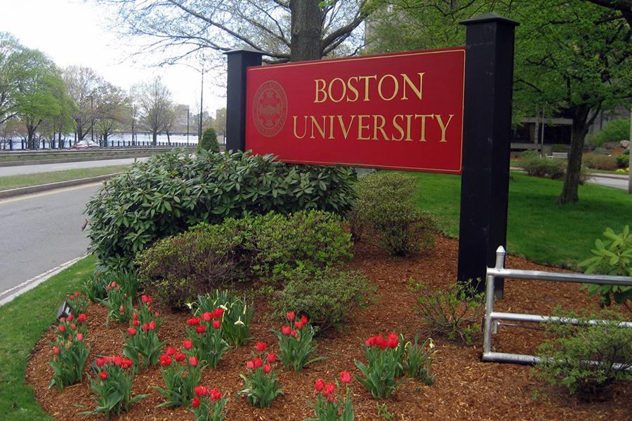 Boston University sign