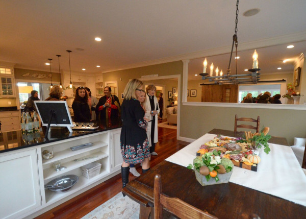 Guests Admire A Cheese Platter Provided By Hook And Harvest, Cabinets By Scandia  Kitchens / Photo By Katrina Bentley Photography