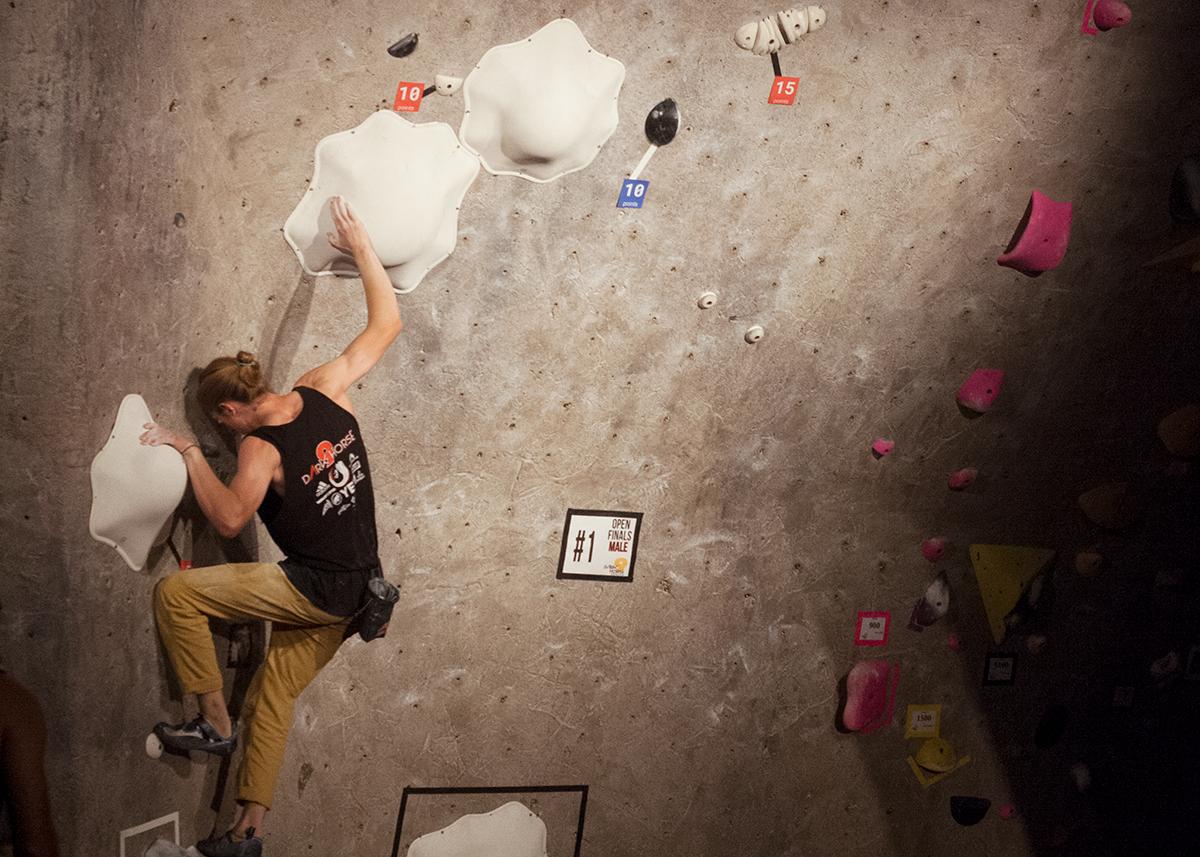 Alex Assesano climbs indoors