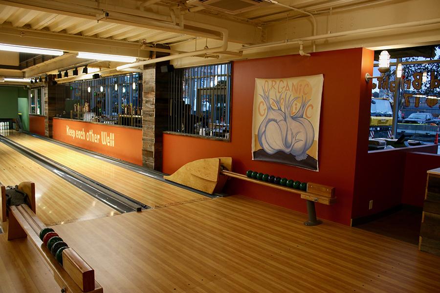 Candlepin bowling lanes at Flatbready Company at Boston Landing, Brighton