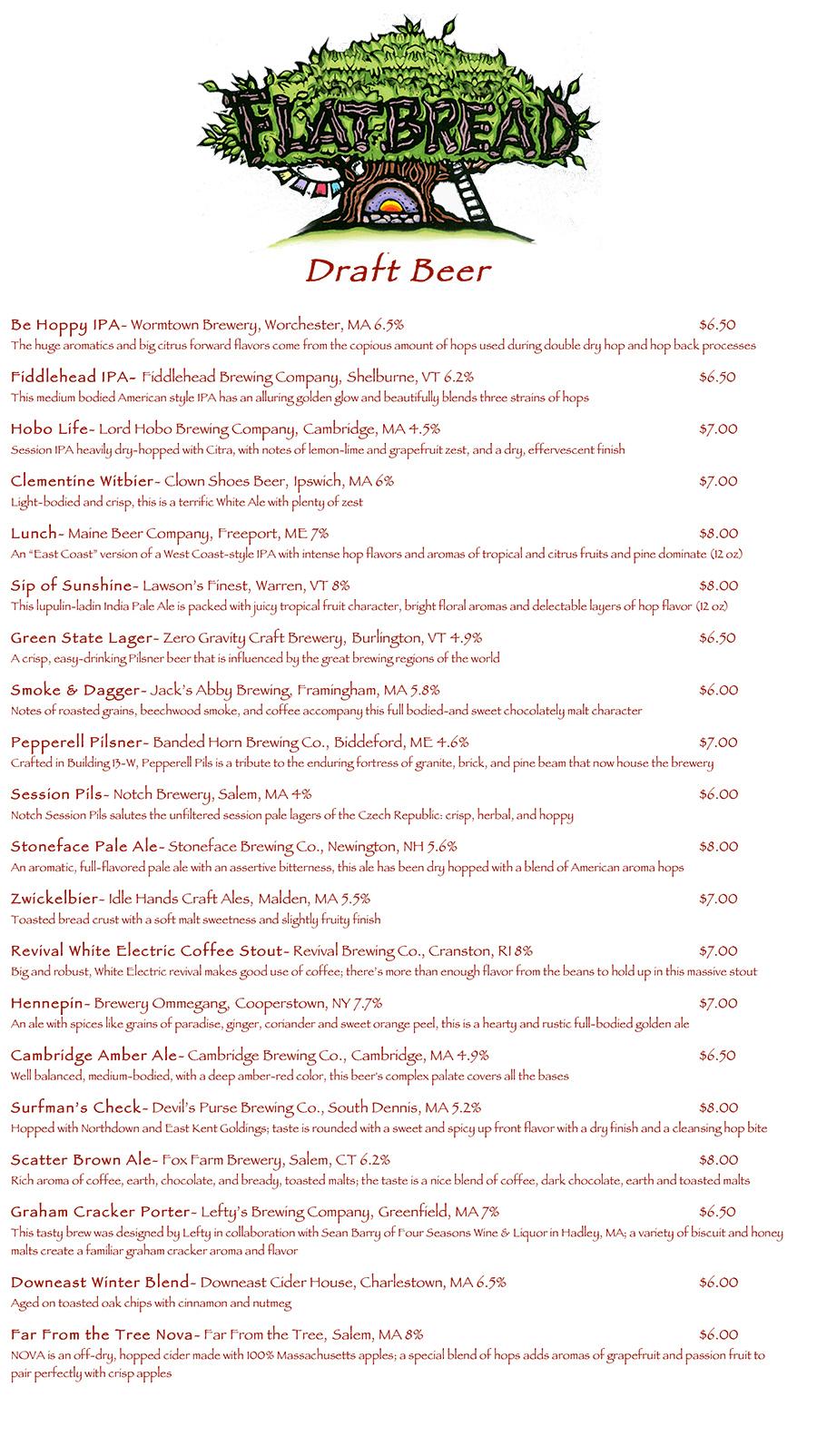 Flatbread Brighton beer list