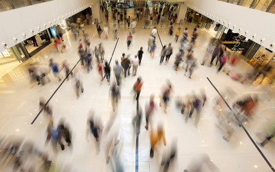 People walking in a mall