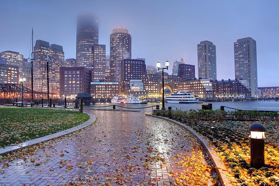 The Boston skyline engulfed in rain and fog