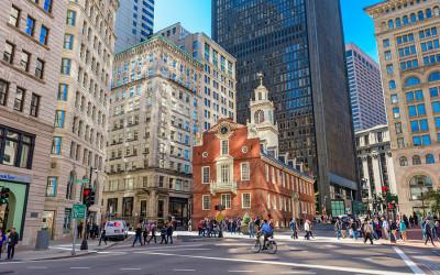 Pedestrians in downtown Boston