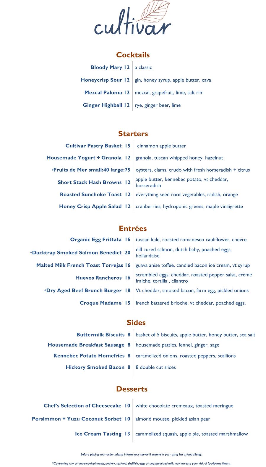 Cultivar brunch menu