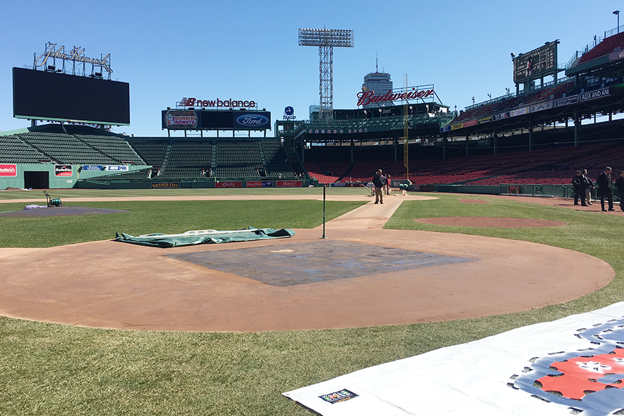 A giant Budweiser sign can be seen above right field ahead of Fenway Park's opening day in 2017. It will not be there in 2018