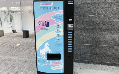 "An ""Impossibly Good"" Polar Seltzer vending machine was spotted at Boston Landing"