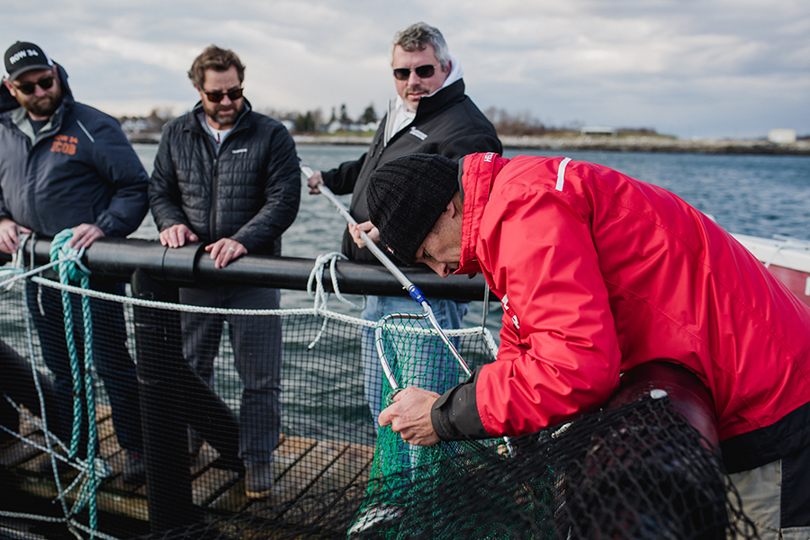 (L to R) Row 34 group purchaser Phil Peterson, UNH and N.H. Sea Grant aquaculture specialist Michael Chambers, Row 34 chef/partner Jeremy Sewall, and UNH aquaculture program manager Gunnar Ek on the floating platform of the steelhead trout farm