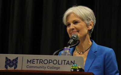 Jill Stein speaks at a lectern