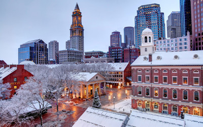 Faneuil Hall covered in snow and looking beautiful