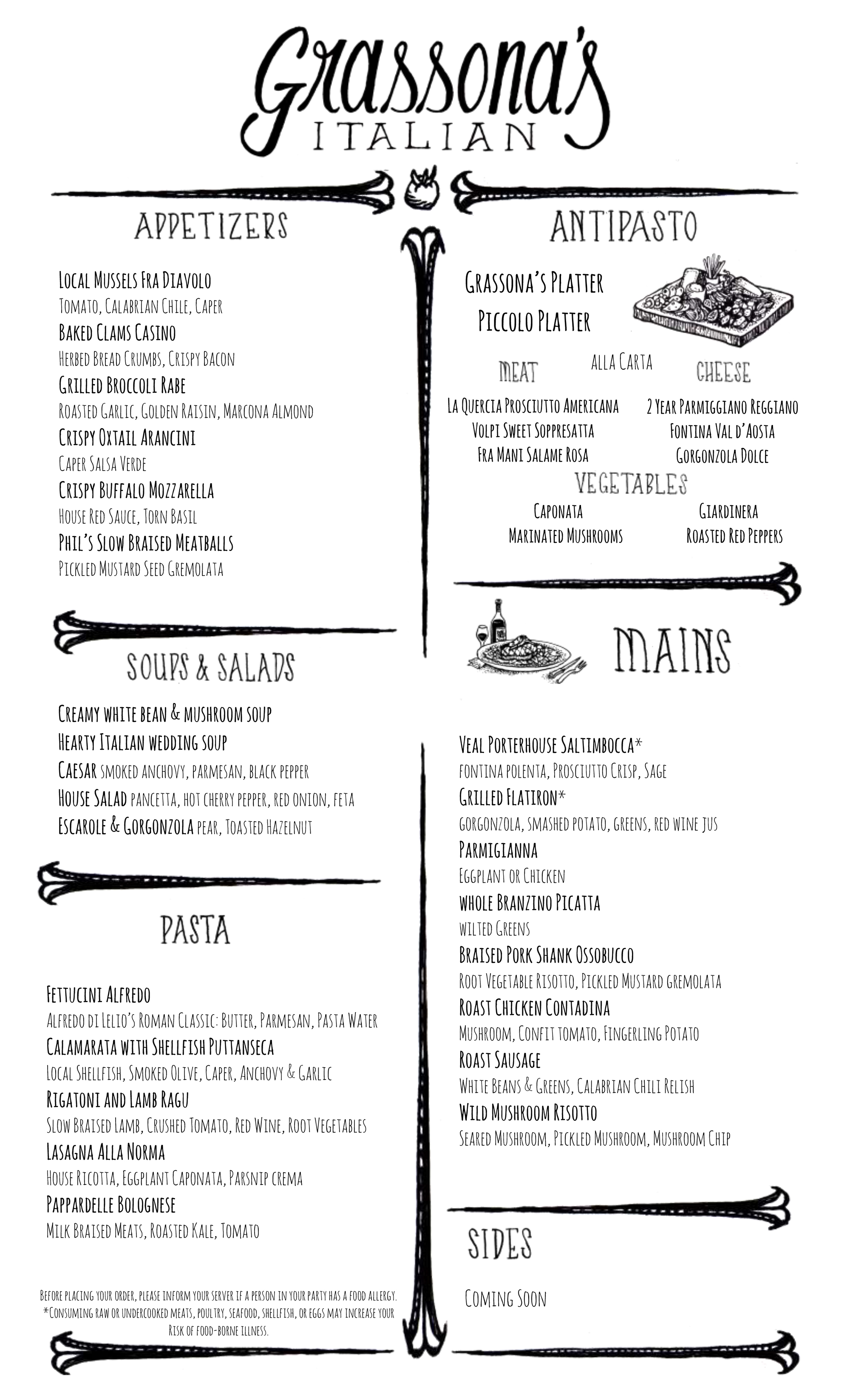 First Look at the Grassona s Italian Food and Drink Menus – Boston