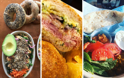 "The Bagelsaurus ""Eggspañola Bowl"" at Whole Heart Provisions photo / the Catalyst ""Fully Committed"" Sandwich at Parish Café / Tiger Mama ""The Super T"" at Saloniki"
