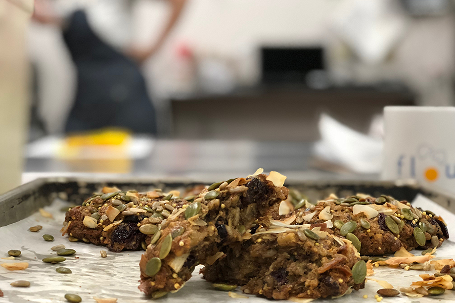 Flour Bakery's new breakfast cookie, with who grains, nuts, and seeds