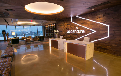 The new Accenture office, featuring the company's logo