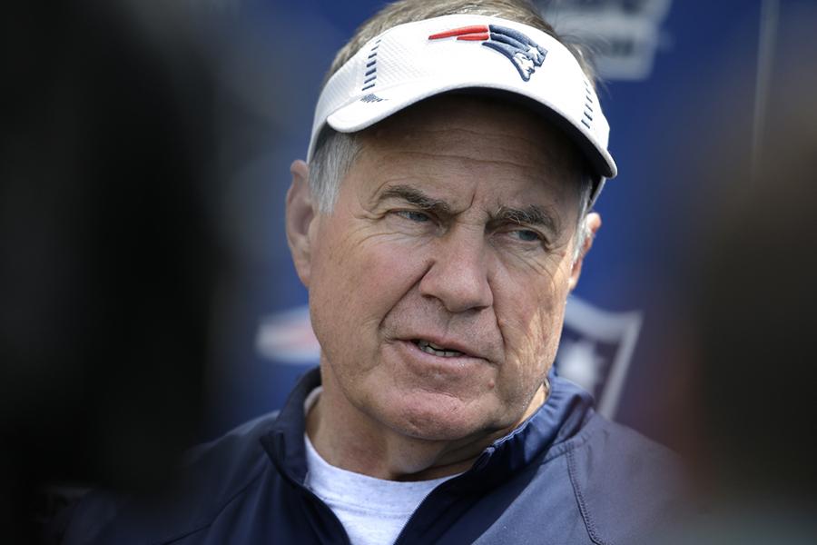 Bill Belichick in a Patriots visor