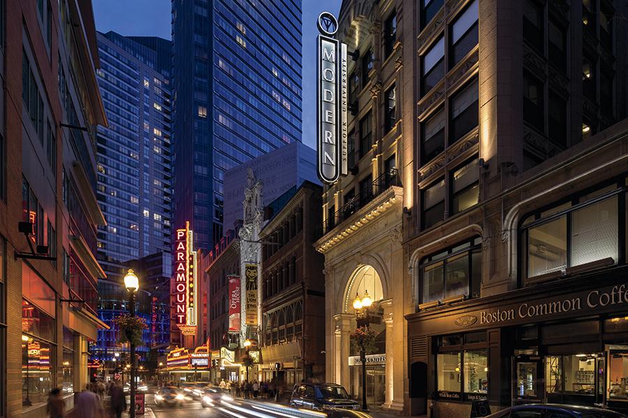 Boston Theater District At Night