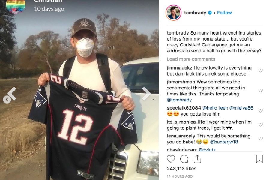 Fan Saved Tom Brady Jersey from Wildfires, Got Brady's Attention