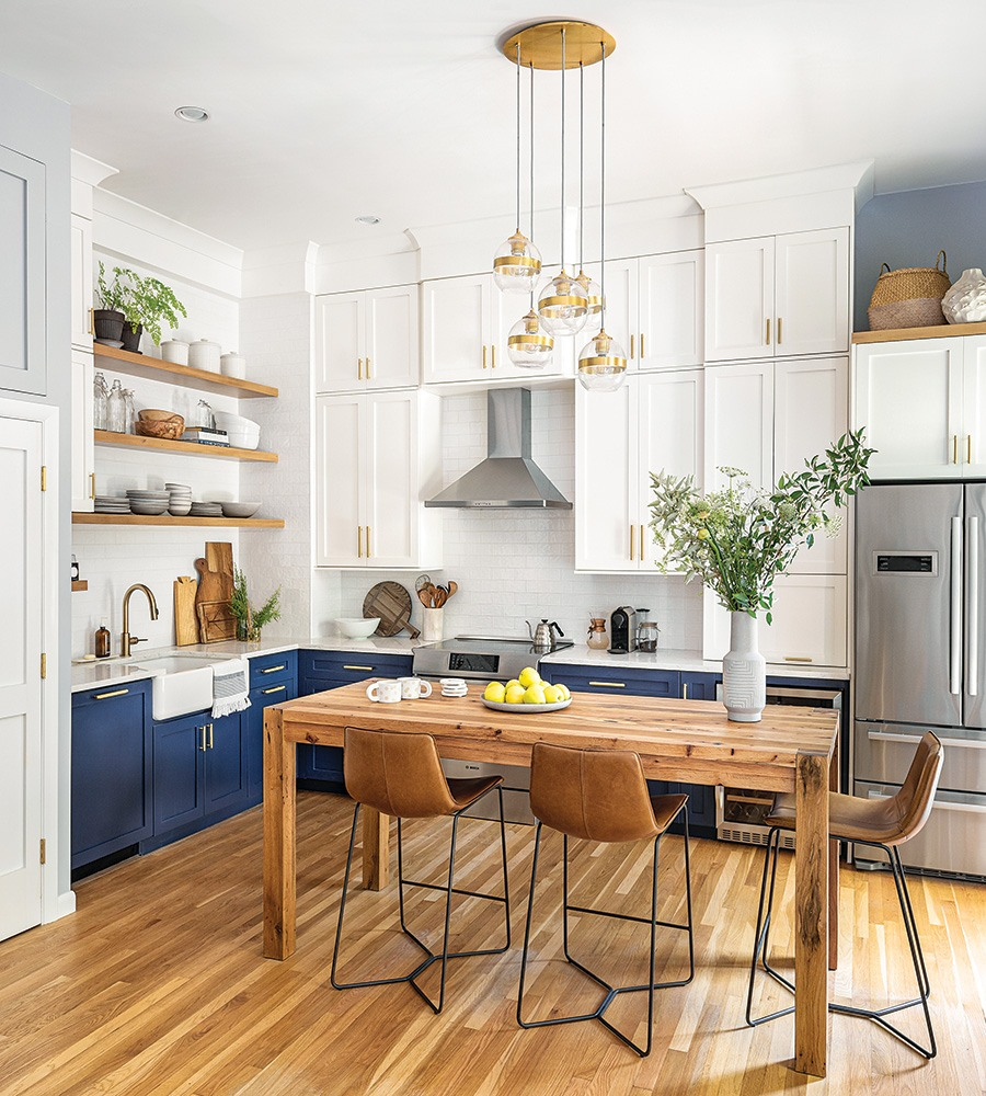 A Space Saving Navy Kitchen In Boston S South End